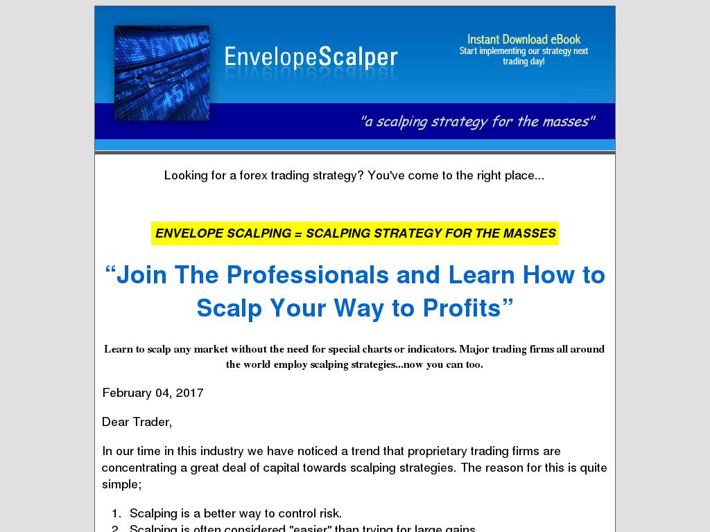 Envelope scalper trading system