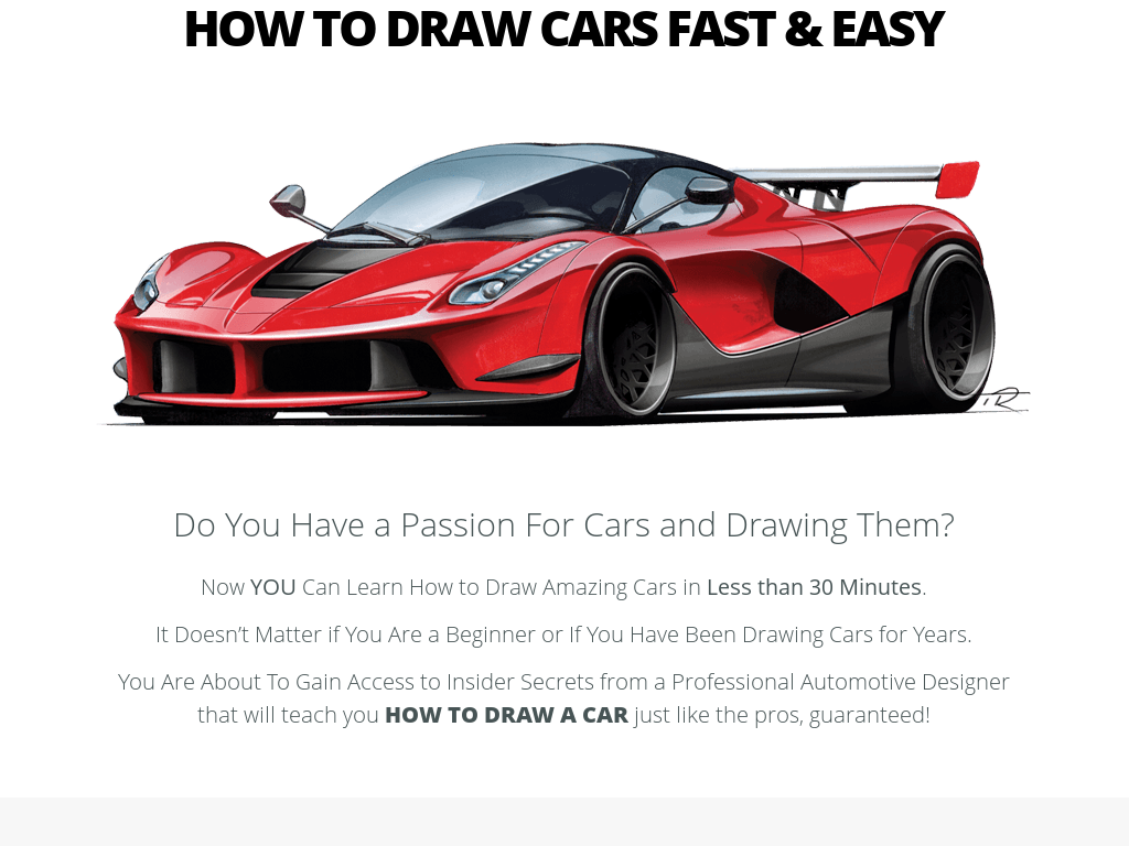 how to draw a fast car