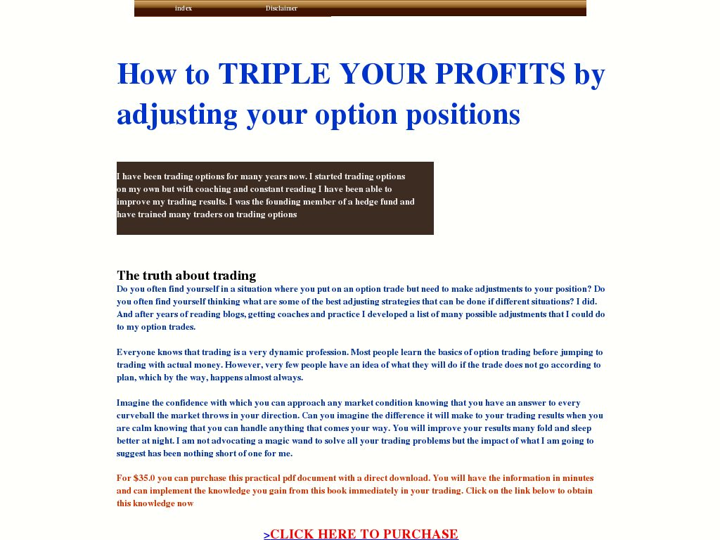 Option trading adjustment