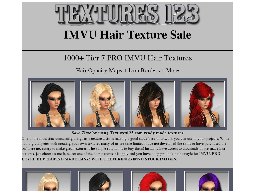 Game Texture Sales :1200 Hair Textures