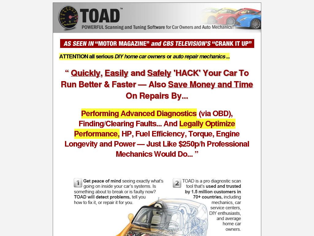 Total obd ecu auto diagnostics software toad elm327 scan tool