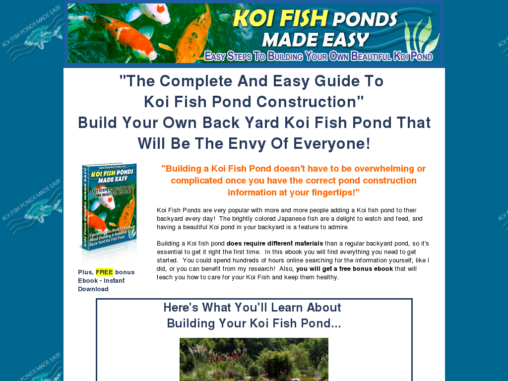 Graphs build an easy koi fish pond for Easy fish pond